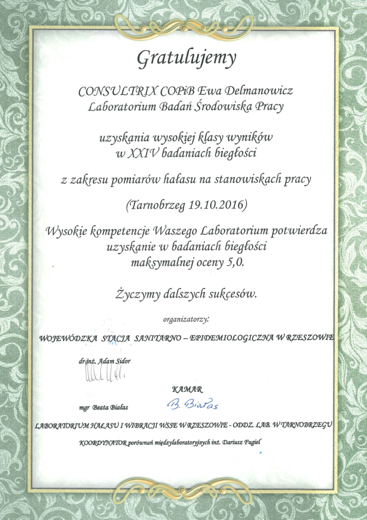 Certyfikat biegłości Consultrix - Laboratorium